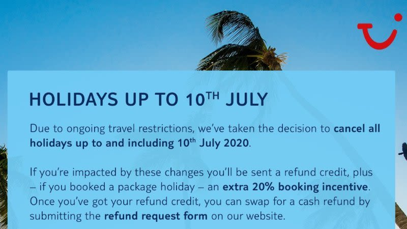 tui cancels holidays july20 covid 19